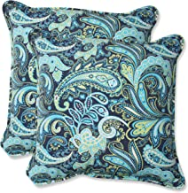 Pillow Perfect Outdoor Pretty Paisley Throw Pillow, 18.5-Inch, Navy, Set of 2