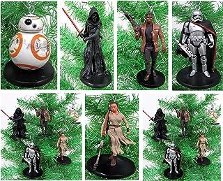 STAR WARS Force Awakens 5 Piece Christmas Tree Ornament Set Featuring Kylo Ren, BB-8, Captain Phasma, Finn, Rey and Flamet...