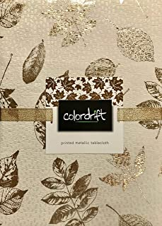 Colordrift Fall Autumn Thanksgiving Tablecloth Elegant Metallic Gold Leaves on Off White Textured Fabric   Cotton/Polyester Blend (60 x 120 Inches)