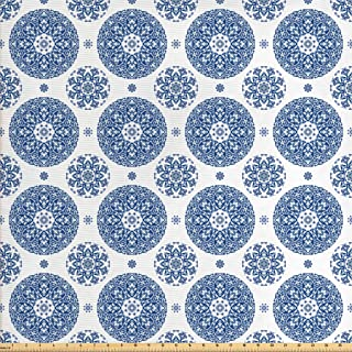 Ambesonne Vintage Fabric by The Yard, French Country Style Floral Circular Pattern Lace Ornamental Snowflake Design Print, Decorative Fabric for Upholstery and Home Accents, 1 Yard, Blue White