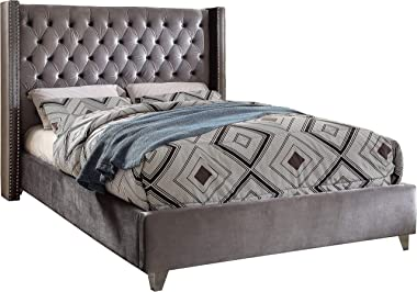Meridian Furniture Aiden Collection Modern | Contemporary Velvet Upholstered Bed with Deep Button Tufting, Solid Wood Frame,