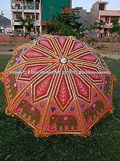 "Asha Handicraft Indian Hippie Elephant Embroidery Garden Umbrella Parasols, Bohemian Beautiful Beach Sun Shade, Lawn Coffee Table Decorative Party Wedding Theme Decorative Parasol Garden Umbrella 72"""