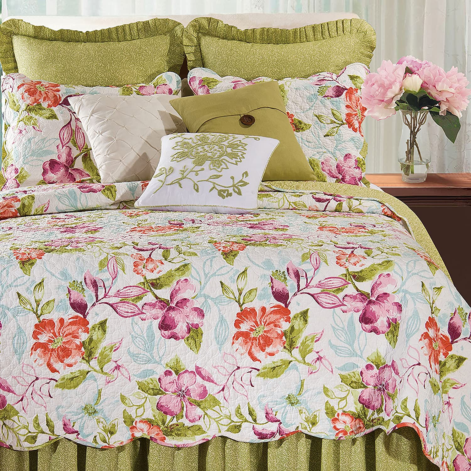 C&F Home Clara 3 Piece Quilt Set All-Season Reversible Bedspread Oversized Bedding Coverlet, Full Queen Size, Green