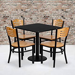 Flash Furniture 30'' Square Black Laminate Table Set with 4 Wood Slat Back Metal Chairs - Natural Wood Seat