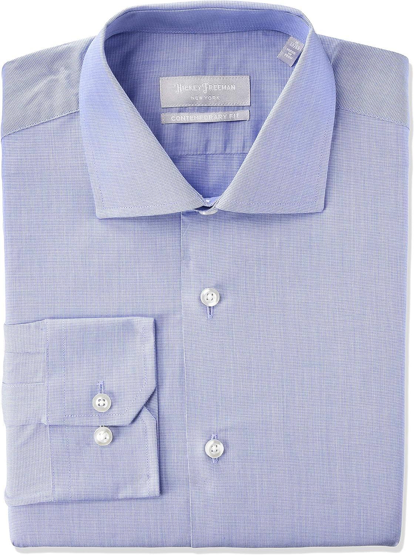 Hickey Freeman Men's Contemporary Fitted Long Shirt 2020モデル Sleeve 価格交渉OK送料無料 Dress