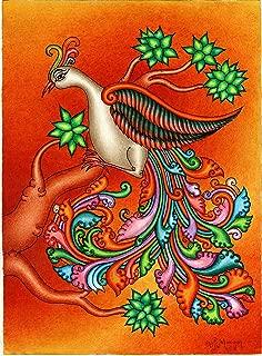Kerala Mural Swan Art Handmade South India Nature Bird Ethnic Miniature Painting