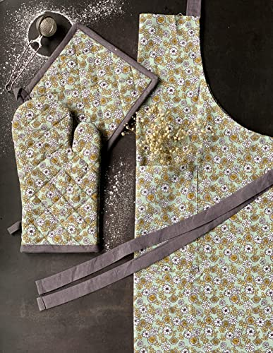 PIXEL HOME © Printed Apron with Centre Pocket 100% Cotton with Glove and Pot Holder - Designer Product Apron with Tie...