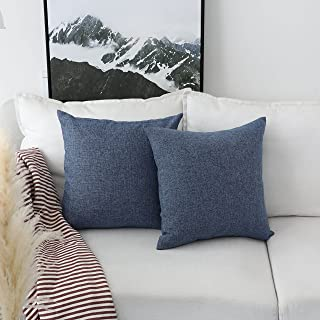 Home Brilliant Set of 2 Linen Euro Shams Large Throw Pillow Covers for Couch Patio Floor, 26 x 26 Inch(66x66 cm), Navy Blue