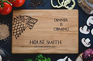 Personalized Cutting Board Dinner is coming Games of thrones House Stark Direwolf Engraved Custom Family chopping Wedding ...