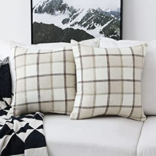 Home Brilliant Classic Retro Throw Pillow Covers Country Rustic Checkered Plaid Cotton Linen Cushion Covers, Set of 2, 18 x 18 Inches, Beige
