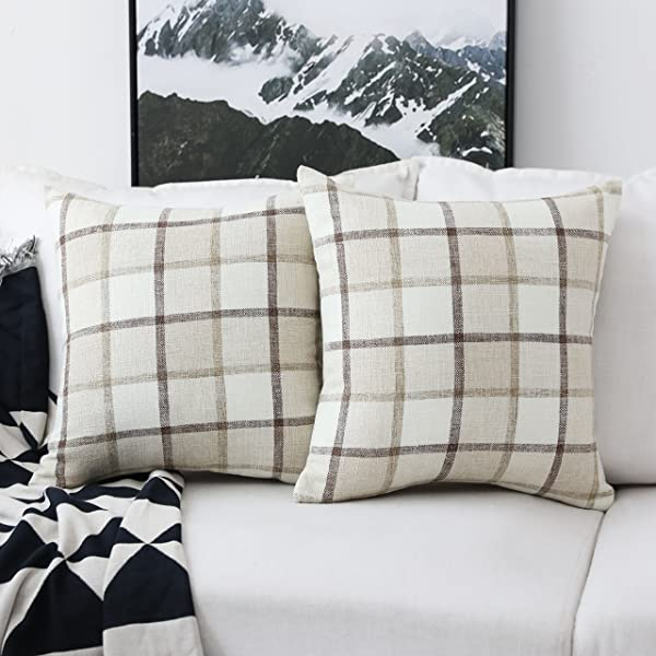 HOME BRILLIANT Classic Retro Throw Pillow Covers Country Rustic Checkered Plaid Cotton Linen Cushion Covers Set Of 2 18 X 18 Inches Beige