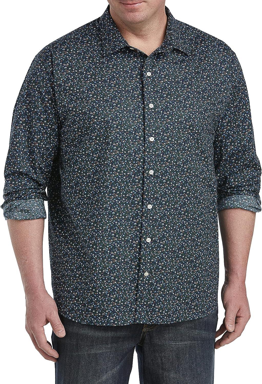 DXL Synrgy Big and Tall Mini Floral Print Sport Shirt, Blue