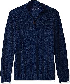 IZOD Men's Newport Marled Quarter Zip 7 Gauge Textured Sweater