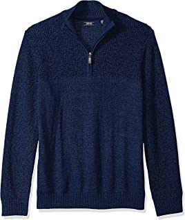 IZOD Men's Newport Marled Quarter Zip 7 Gauge Textured Sweater
