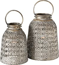 Grand Tour Temple Bell Lanterns, Set of 2, Hurricanes, Distressed Gold, Weathered, White Gray Patina, Iron, 10 1/4 and 8 ...