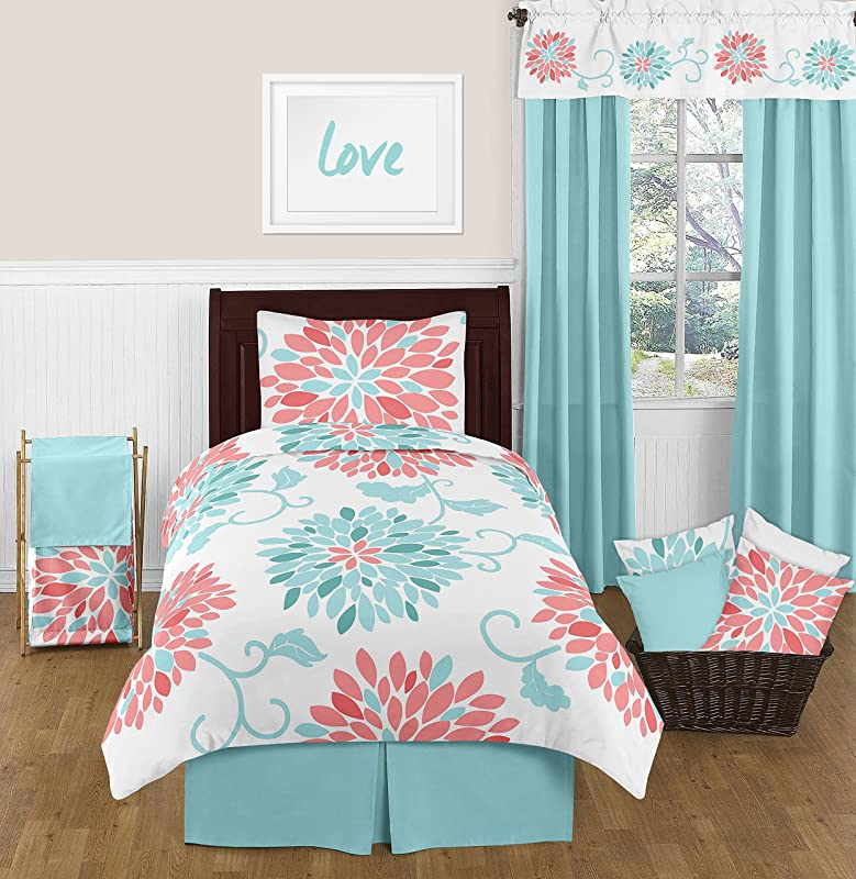 Sweet Jojo Designs 4 Piece Turquoise And Coral Emma Kids Teen Modern Twin Bedding Set Collection