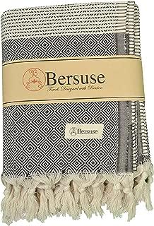 Bersuse 100% Cotton Hierapolis XL Blanket Turkish Towel, 60X95 Inches, Black