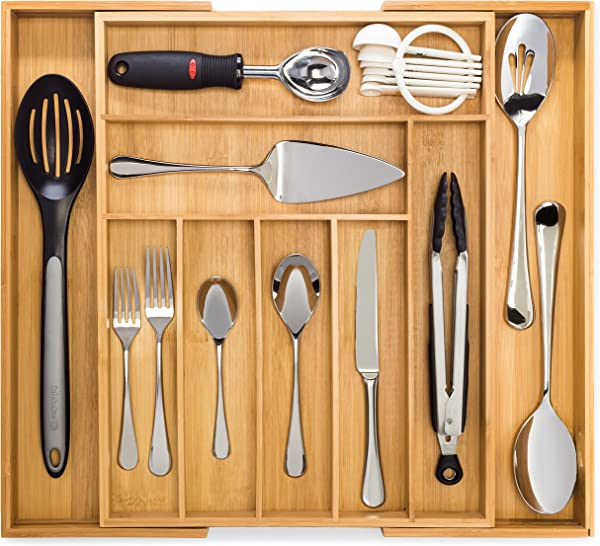 Bamboo Expandable Drawer Organizer Premium Cutlery And Utensil Tray 100 Pure Bamboo Adjustable Kitchen Drawer Divider 7 Compartments Expandable