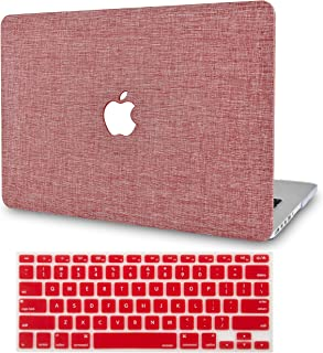 """KECC Laptop Case for MacBook Pro 13"""" (2020/2019/2018/2017/2016) w/Keyboard Cover Plastic Hard Shell A2159/A1989/A1706/A1708 Touch Bar 2 in 1 Bundle (Red Fabric)"""