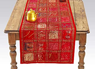 Red Indian Table Runner - Embroidered Sequin Cotton Boho Bohemian Hippie Patchwork Runner Tapestry Wall Hanging - Indian Decoration Tapestry Wedding Reception Party Decor 18 x 58 Inch