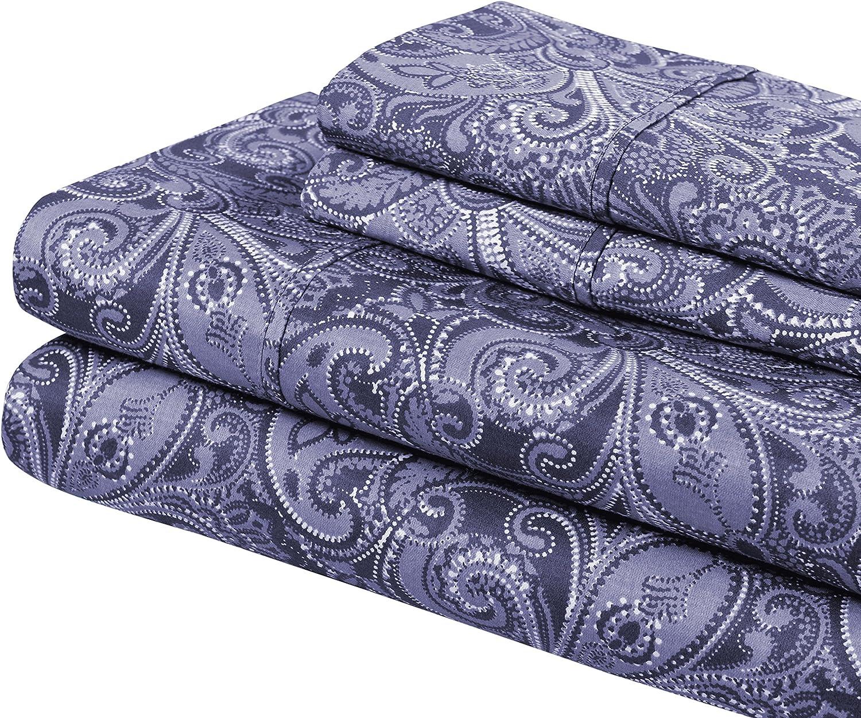 Superior 300 Thread Count Cotton Maywood Print Sheet Set King bluee