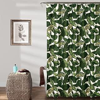 Lush Decor Tropical Paradise Shower Curtain-Fabric Leaf Rainforest Island Print Design, 72