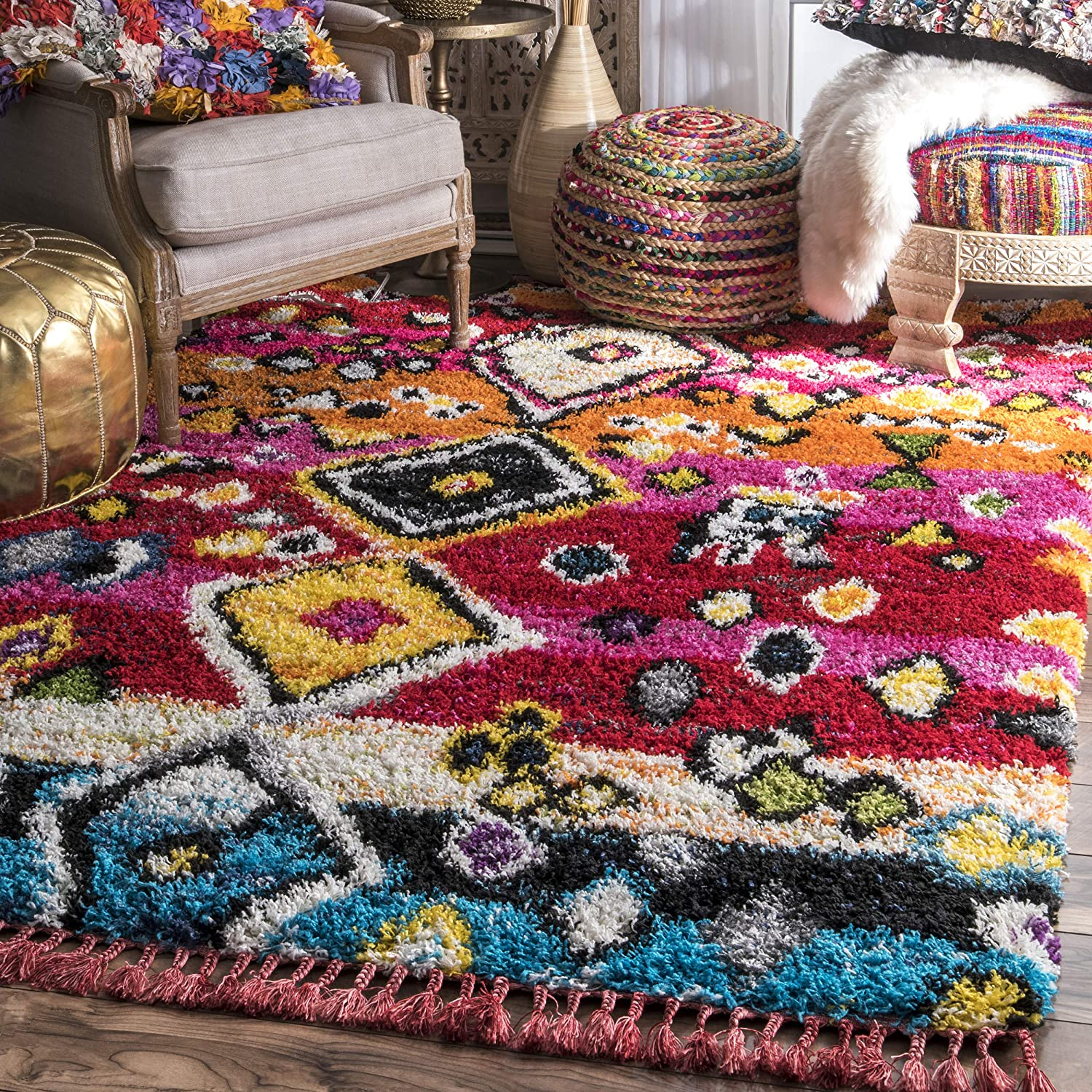 nuLOOM Alane Moroccan Shag Area Year-end Popular brand in the world annual account 6' x Multi Rug 4'