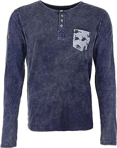 Khujo - T-Shirt à hommeches longues - Imprimé - Col Boutonné - Manches Longues - Homme Bleu AC25NAVY-A