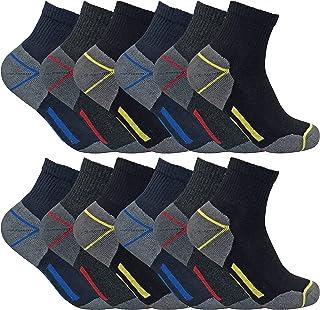 3, 6 y 12 pares hombre algodon transpirables cortos calcetines trabajo/trabajar de verano para entrenar (SHORT)