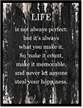 Life Is Not Always Perfect But It's Always What You Make It So Make It Count Make It Memorable Motivation Quote Saying Canvas Print Home Decor Wall Art Gift Ideas, Black Frame, Black, 22
