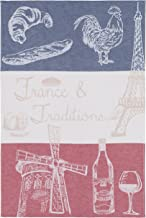 COUCKE French Cotton Jacquard Towel Paris Collection, French Traditions PJ, 20-Inches by 30-Inches Red, White, and Blue