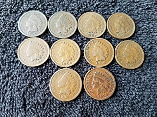1900 1901 1902 1903 1904 1905 1906 1907 1908 1909 Complete Decade U.S. Indian Head Cents - 10 coins Penny Circulated