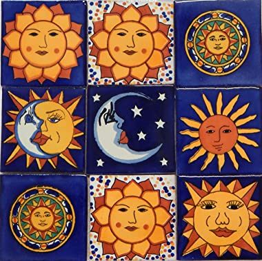 Color y Tradicion Sun Moon Talavera Mexican Tile 4x4 Hand Painted