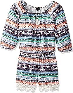 Girls' Big Printed Long Sleeve Romper with Crochet Trim