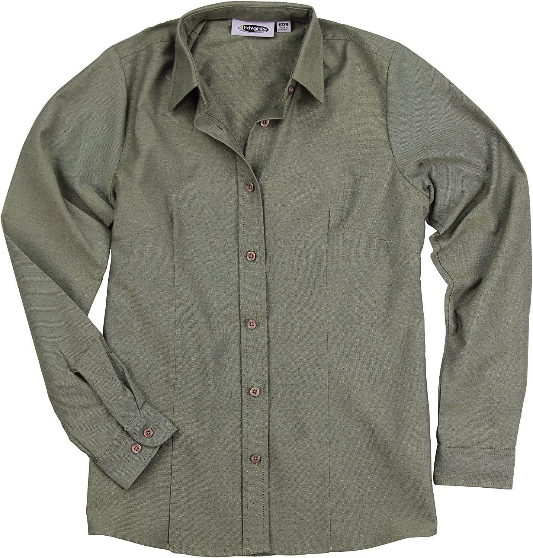 Womens Basic Long Sleeve Button Down Oxford Work Shirt Blouse