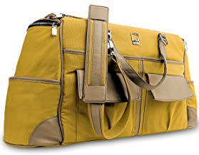 Water Resistant Canvas Leather Travel Duffel Bag for Dell Inspiron 15 5000 7000 3000 15.6 inch Laptop Notebook Yellow, Camel