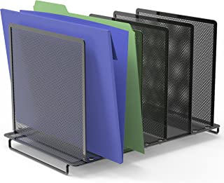 SimpleHouseware Expandable 5 Section Upright File Sorter Organizer, Black