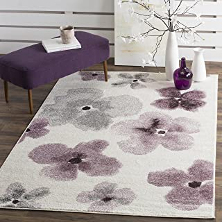 Safavieh Adirondack Collection ADR123L Ivory and Purple Vintage Floral Watercolor Area Rug (5'1