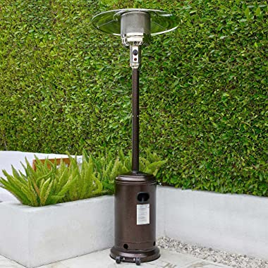 BELLEZE 48,000 BTU Gas Outdoor Patio Heater with Piezo Ignition System, Wheels For Smooth Mobility, LP Propane Heat CSA Certi