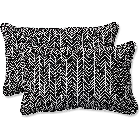 2 Count 18.5 x 15.5 Blue Pillow Perfect Outdoor//Indoor Herringbone Ink Round Corner Seat Cushions