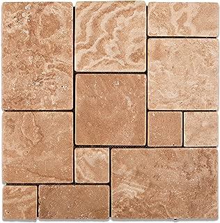 Andean Walnut Peruvian Travertine OPUS Mini-Pattern Tumbled Mosaic Tile - Lot of 50 Sheets