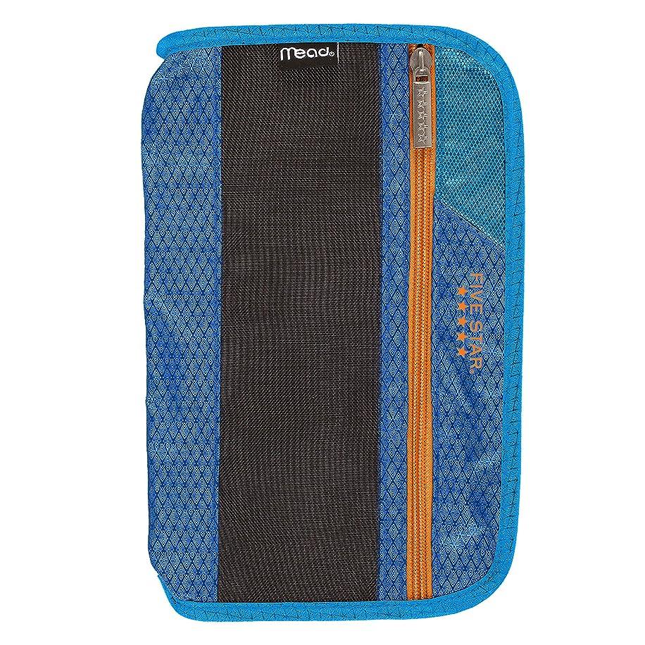 Five Star Xpanz Zipper Carrying Case / Pouch for Pencil, Pen, Supplies - Puncture Resistant, Blue/Orange
