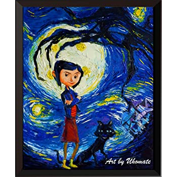 Amazon Com Uhomate Coraline And Cat Vincent Van Gogh Starry Night Posters Home Canvas Wall Art Print Poster Baby Gift Nursery Decor Living Room Wall Decor A130 8x10 Posters Prints