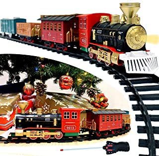 JOYIN Express Christmas Train Set with Remote Control, Lights and Sounds, 12 Tracks, 4 Train Cars and Railway Toy Train for Christmas Toy, and Christmas Tree Decoration