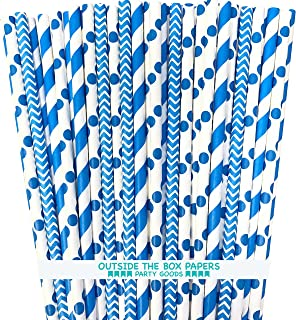 Paper Straws - Blue White - Stripe Chevron Polka Dot - 7.75 Inches - 100 Pack - Outside the Box Papers Brand