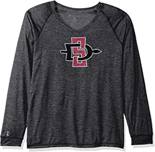 Ouray Sportswear NCAA San Diego State Aztecs Women's Electrify 2.0 V-Neck Long Sleeve Tee, Black Heather, X-Large