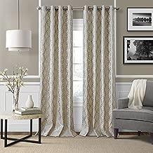 "Elrene Home Fashions Modern Metal Print Linen Single Panel Window Curtain Drape, 50""x84"", Pewter"