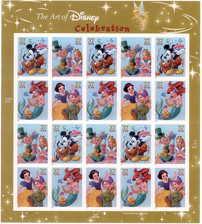 The Art of Disney: Celebration, Full Sheet of 20 x 37-Cent Postage Stamps, USA 2005, Scott 3912-15