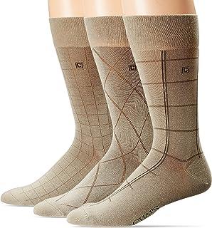 Chaps Men's Dashed Windowpane Dress Crew Trouser Socks 3 Pair, Khaki, Shoe Size: 6-12