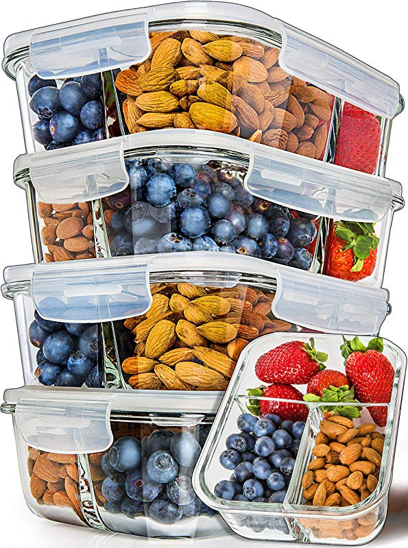 Prep Naturals Glass Meal Prep Containers 3 Compartment 5 Pack Bento Box Containers Glass Food Storage Containers With Lids Food Prep Containers Glass Storage Containers With Lids Lunch Containers